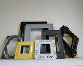 "Frame set collection gallery wall french city country Paris apartment yellow gray black white ""City Lights VIII"""