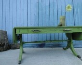 Vintage Wooden Mahogany Coffee Table Table in Distressed Eden Green with drawer beach cottage shabby chic country primitive
