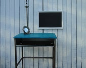 Old School Desk Wooden Entry Way Table in Distressed teal turquoise blue beach cottage shabby chic country primitive