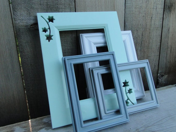 """Picture Frame Photo Frame set collection gallery wall mint green gray white """"Minty Fresh"""""""