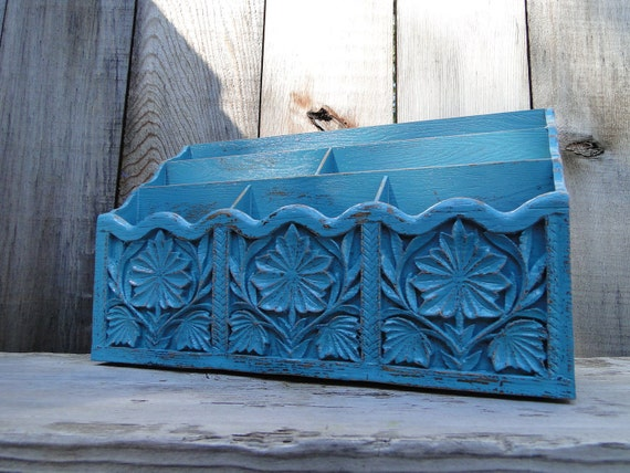 Desk Organizer distressed teal turquoise vintage resin