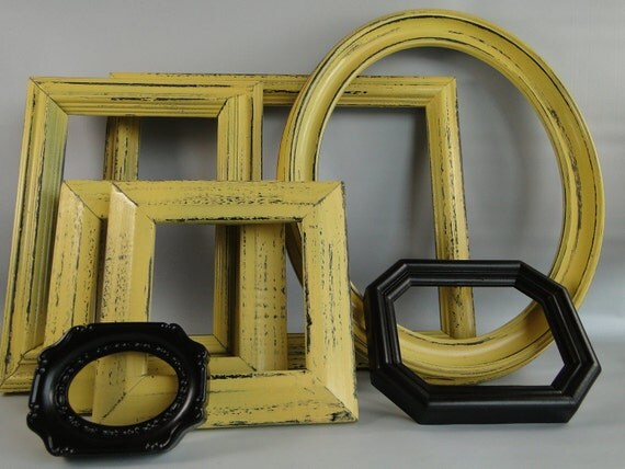 """Open Frame set collection shelf grouping gallery wall yellow bronze """"Rich"""""""