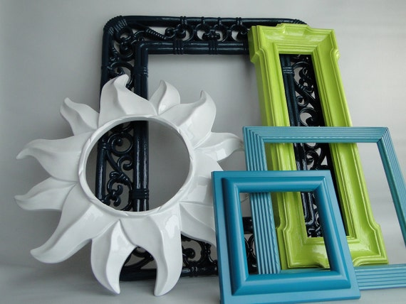 "Frame mirror set collection gallery wall teal turquoise lime green white ""Dew Drop II"""