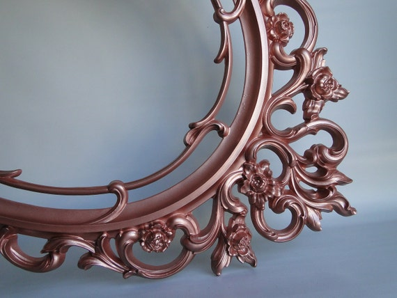 Vintage ornate baroque oval mirror in copper metallic for Baroque resin mirror