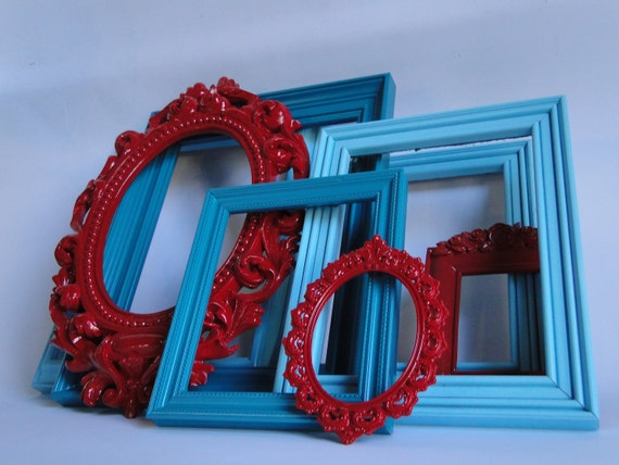 """Frame set collection gallery wall ornate shelf grouping aqua blue red """"A Little Red Goes a Long Way IV"""""""