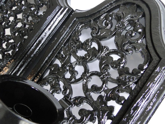 """Pair of Large Vintage Candle Sconce gothic painted glossy black """"Goth II"""""""