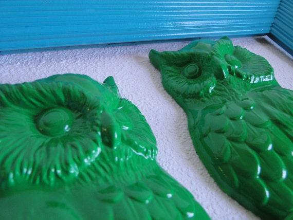 "Frame set collection gallery wall ornate shelf grouping owls aqua blue green ""Owl Art """