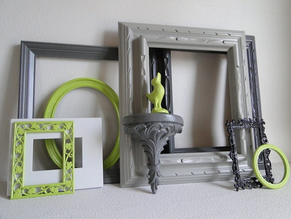 "Frame set collection gallery wall lime green grey white black ""Lime in the Storm III"""