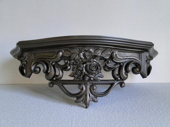 "Large Shelf ornate baroque hollywood regency paris apartment vintage large metallic ""Aged Bronze Ornate Shelf"""