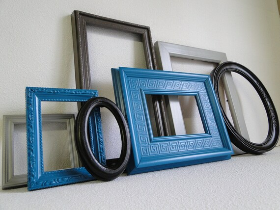 frame set collection gallery wall teal turquoise by trwpainted. Black Bedroom Furniture Sets. Home Design Ideas