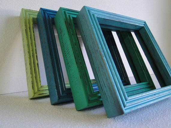 "Frame mirror set collection gallery wall distressed teal turquoise blue green ""Square Laguna Mirrors"""