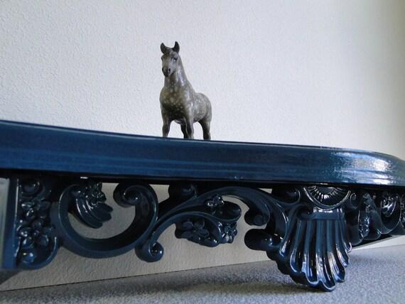 "Decorative Shelf ornate baroque hollywood regency paris apartment vintage dark teal turquoise blue green ""Night Tide Ornate Shelf"""