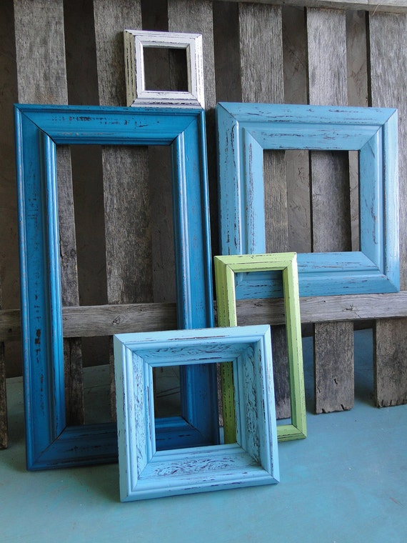 "Framed mirror set collection gallery wall distressed teal turquoise blue white green ""Beach Chair Mirrors"""