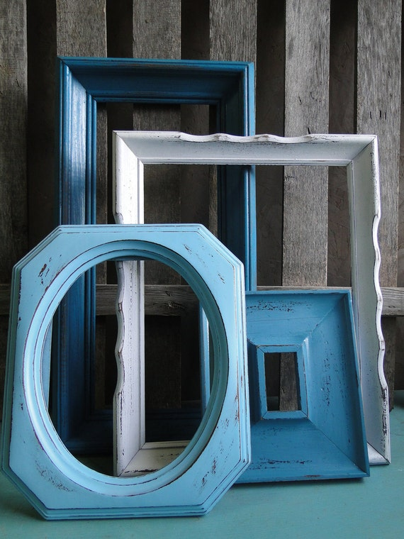 "Large Frame Collection Set Gallery Wall rustic beach cottage distressed blue teal turquoise white ""Coastal Cottage Blues, Frames"""