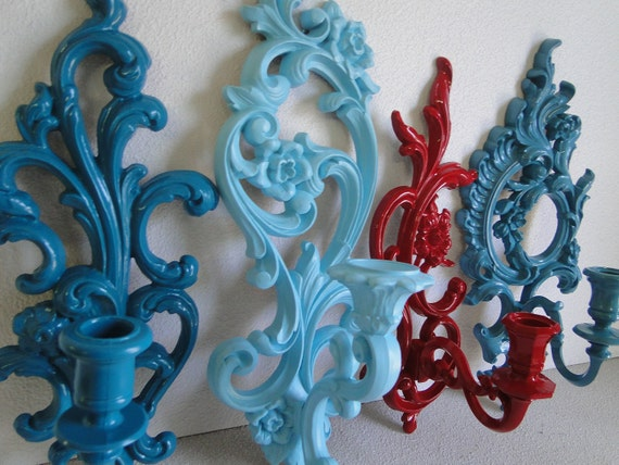 """Set of Vintage Ornate Candle Sconces blue teal turquoise red """"A Little Red Goes a Long Way, Sconces"""""""