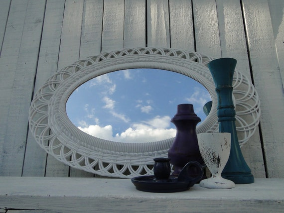 Large Vintage Ornate Oval Wicker Look Mirror in Pure White Beach Cottage Chic French Country