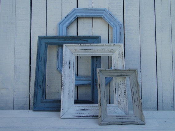 """Large Frame Collection Set Gallery Wall rustic beach cottage distressed blue white """"Beach Shack, Frames"""""""