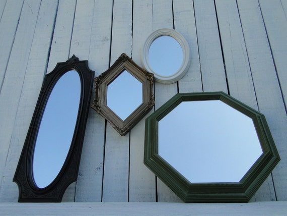 "Framed Mirror set collection gallery wall Hollywood Regency Glamornate mirrors green bronze ""Olive Oil MIrrors"""