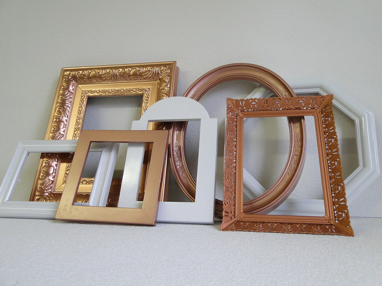 Frame Set Collection Gallery Wall Metal Copper White