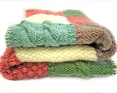 Hand Knit Baby Blanket Pink, Green & Brown - Size 26 x 24 inch