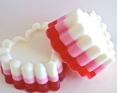 Valentines Day Soap, scalloped heart shaped glycerine soap, vanilla frosting scented