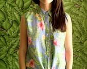 Vtg 90s Cropped Sleeveless Linen Tropical Hawaiian Floral Tie Waist Blouse
