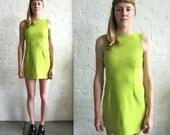 Reserved - Vtg 90s Lime Green Sleeveless Mini Dress / Party Dress