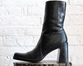 Vtg 90s Chunky Heel Black Leather Boots / Calf High Snakeskin Print Boots / Women's Size 8 US - 38.5 Eur - 5.5 UK