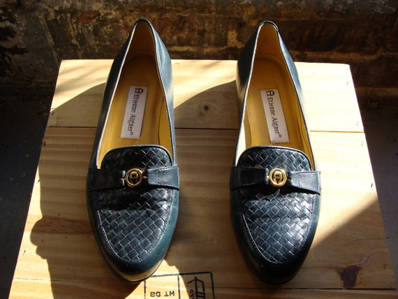 Vtg 90s Navy Woven Toe Penny Loafers, Size EUR 37 / US 6
