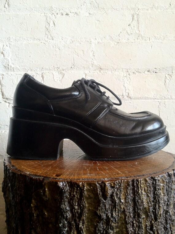 Vtg 90s Grunge Black Platform Chunky Heel by ...