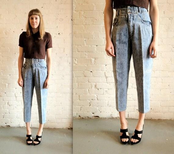 Vtg 80s/90s Acid Wash, Super High Waist Denim Blue Jeans / Corset Waist, Tapered High Water Pants 26 x 26