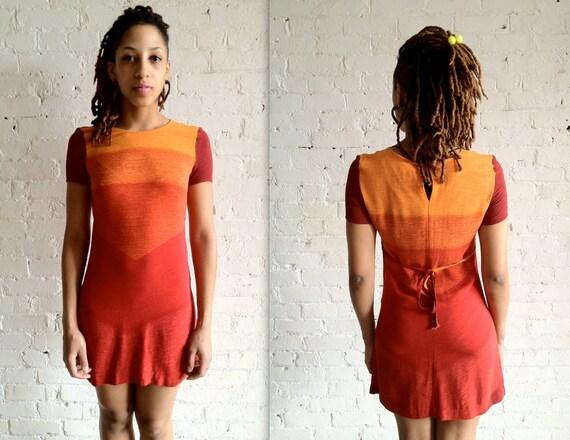 Vtg 90s Ombre Sunrise, Sunset Short-Sleeve Mini Dress / Warm Red Yellow Orange Dress