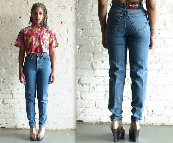 Vtg 90s High Waist Tapered Denim Blue Jeans / Size 26