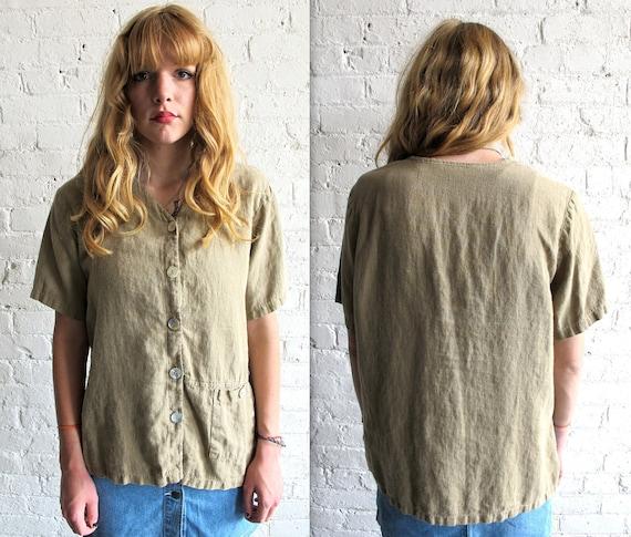 Vtg 90s Beige Linen Button Down Safari Shirt / Grunge Shirt