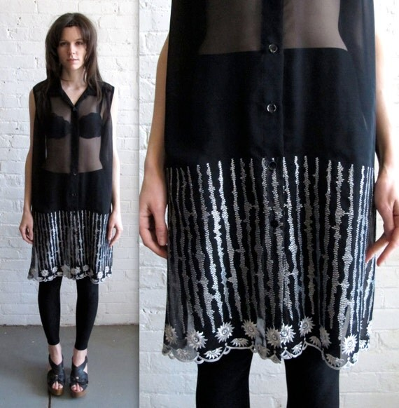 Vtg 90s Embroidered Sheer Black Tunic Dress / Oversized Middle Eastern Tunic