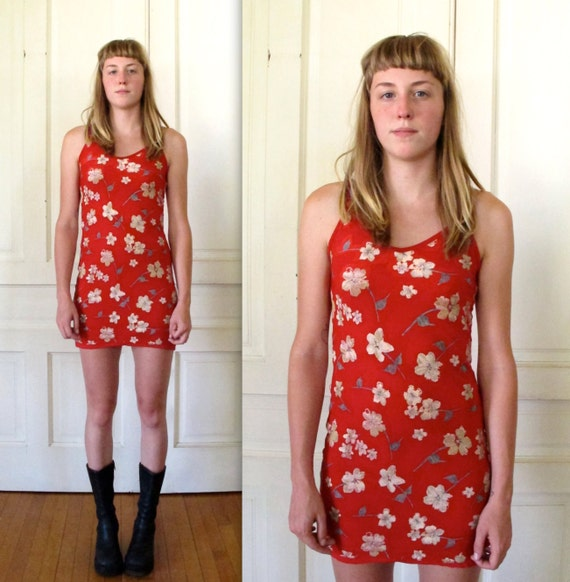 Vtg 90s Bright Red Floral Print Mini Dress / Burn Out Party Dress