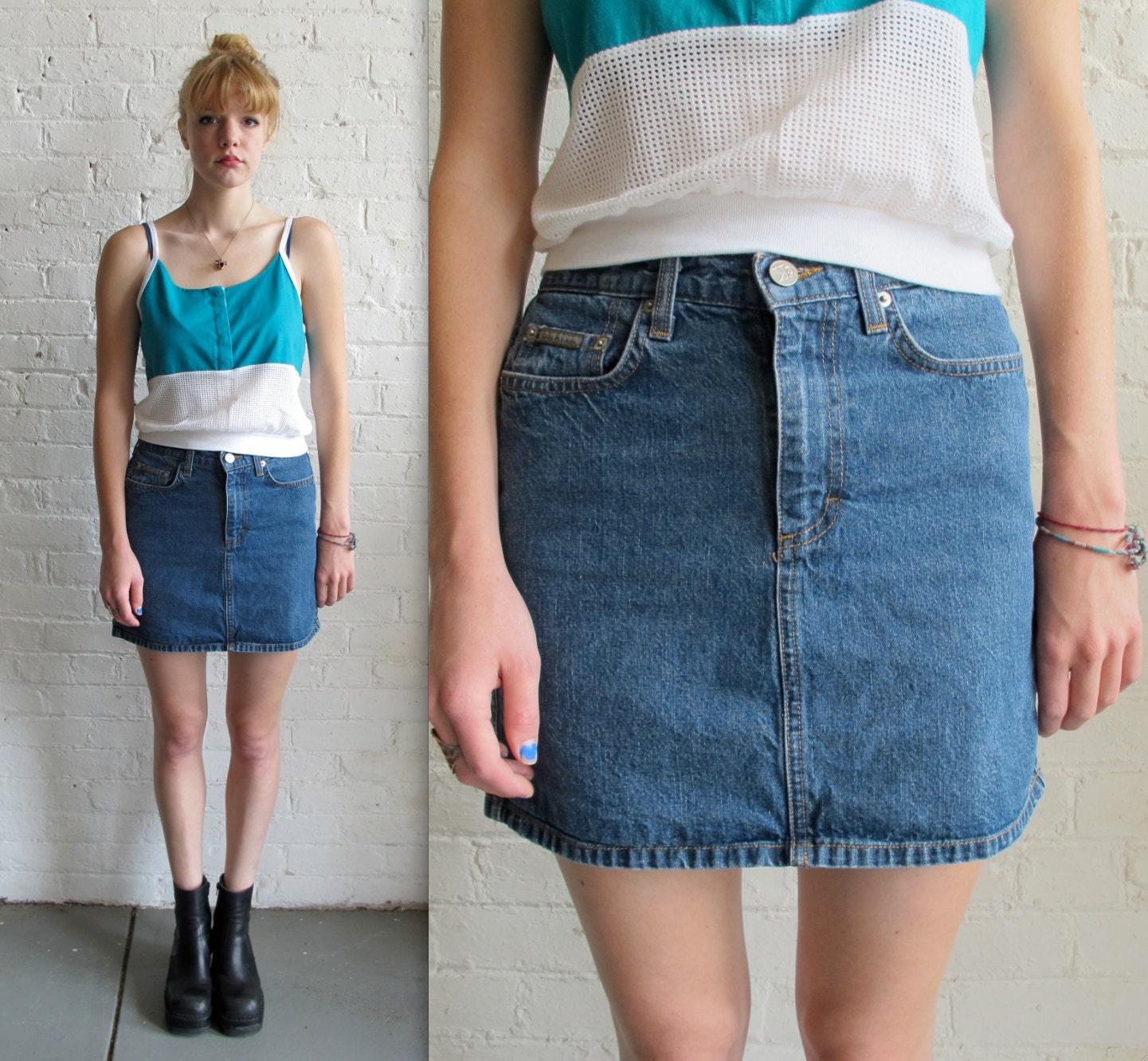 Vtg 90s Blue Denim Mini Skirt / Jean Skirt