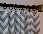 "50"" Wide Chevron Ash Grey White Zig Zag Drapery Panels Choose Your Length 63, 84, 96, 108, 120"