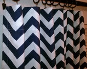 "Pair of TWO 50"" Wide Navy Blue and White Zig Zag Chevron Curtains Drapery Panels with Choose Your Length 63, 84, 96, 108, 120"
