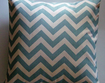 Spa Blue Pillow Cover in Village Blue and Natural Zig Zag Chevron 18 inch Removeable Cover Contemporary Modern