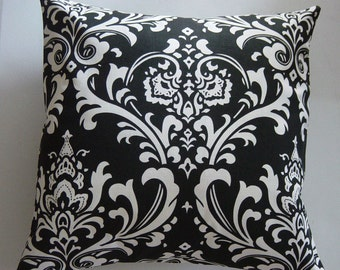 Designer Decorative Pillow Cover in Black and White Damask Removeable Cover Contemporary Modern Style