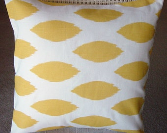 Yellow Pillows, Ikat Decorative Toss Throw Pillow Cover Corn Yellow and White Chipper 18 inch Removeable Contemporary Modern