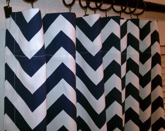 "Pair of Navy Blue and White Zig Zag Chevron Curtains Drapery Panels Choose Your Length 50"" x 63, 72, 84, 90, 96, 108, 120"