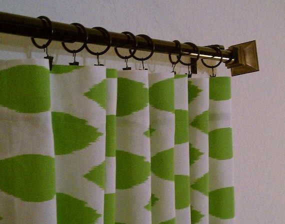 Pair of 2 panels 50 x 84 96 108 120 Green and White Ikat Decorative Designer Custom Curtains Drapes