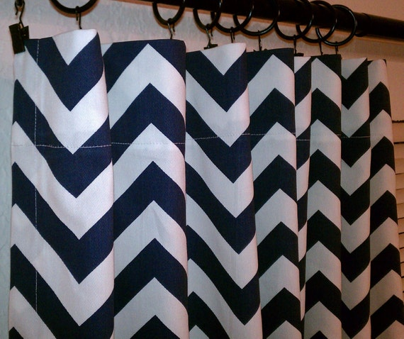 Pair Of Navy Blue And White Zig Zag Chevron Curtains By