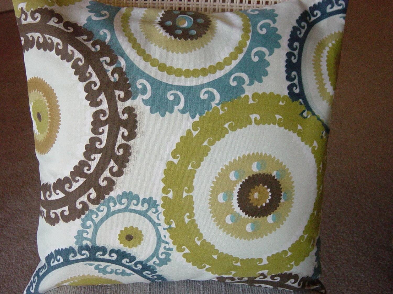 Wolfram cabana blue green brown cream circles suzani by sewpanache