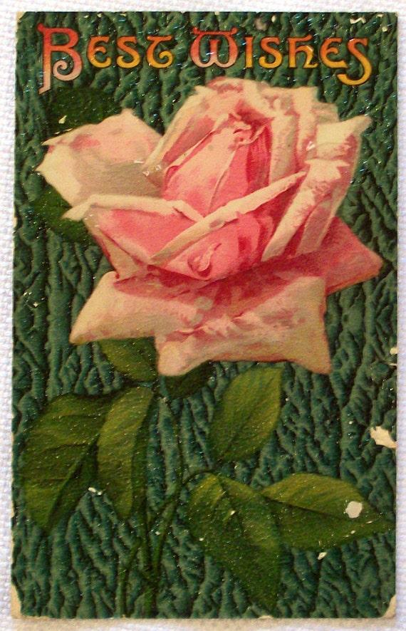 Best Wishes Vintage Postcard 1911 - Pink Rose
