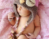 Owl Earflap Hat with Braids