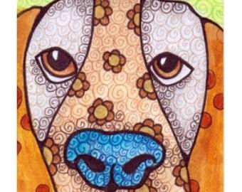 Hound Dog Original ACEO Blue Nose Puppy