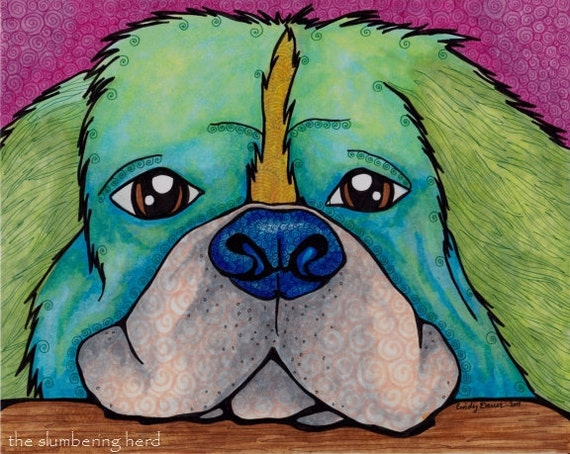 Green Dog Original Ink Art Blue Nose Puppy